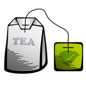 Green tea bag icon — Stock Vector