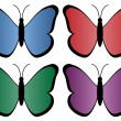 Four colored butterflies — Stock Vector