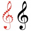 Hearts violin clef — Stock Vector