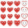 Stock Vector: Set of smile hearts