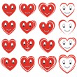 Set of smile hearts — Stock Vector