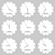 Clock faces - timezones — Vettoriali Stock