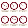 Clock faces - timezones — Stockvectorbeeld