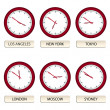 Clock faces - timezones — Vector de stock #11493725
