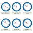Clock faces - timezones — Image vectorielle