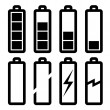 Symbols of battery level - Stockvectorbeeld