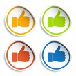 Thumb up stickers — Stock Vector