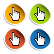 Smooth cursor hand stickers — Stock Vector