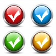 positive checkmark buttons — Stock Vector