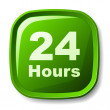 Green 24 hours button — Imagen vectorial