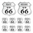 Route 66 black and white stickers — Vettoriali Stock