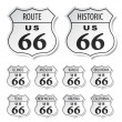 Route 66 black and white stickers — Stock Vector