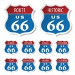 Route 66 colored stickers — Stock Vector