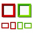 Red and green photo frames — Stock Vector