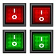 Stock Vector: Square toggle power switches
