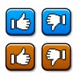 Pixel thumb up and down buttons - Stock Vector