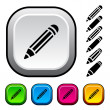 Pencil icons and buttons — Stock Vector