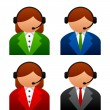 Male female support icons — Stock Vector