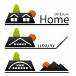 House roof pictograms — Imagen vectorial