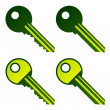 Stock Vector: Green house keys
