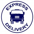 Express delivery stamp - truck silhouette - Stock Vector