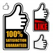 Thumb up satisfaction guaranteed label — Stock Vector #11497053