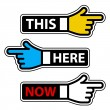 Stock Vector: This here now hand pointer labels