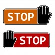 Stop hand gesture labels — Stock Vector