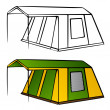 Old family camping tent — Stock Vector