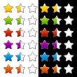 Stock Vector: Whole half and blank rating stars