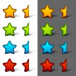 Stock Vector: Whole and half rating stars with shadow