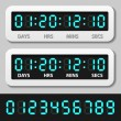 Blue glowing digital numbers - countdown timer — 图库矢量图片