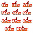 Attached promotional percentage numbers — Stock Vector