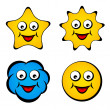 Cartoon smiling face star sun cloud smiley — Stock Vector