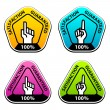 Stock Vector: Forefinger indicating satisfaction guaranteed labels