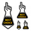 Forefinger indicating the best choice labels — Stock Vector
