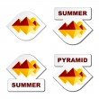 Summer egypt pyramid stickers — Stock Vector