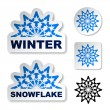 Winter blue snowflake stickers - Stock Vector
