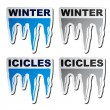 Winter blue icicle stickers - Stock Vector