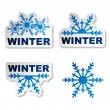 Stock Vector: Winter snowflake promotional stickers