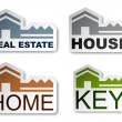 House key real estate stickers - Stock Vector