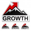 Profit growth winter mountain stickers - Stock Vector