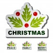 Christmas holly leaf stickers - Stock Vector