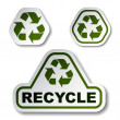 Recycle green arrow stickers — Stock Vector