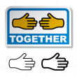 Together shake hands sticker — Stock Vector