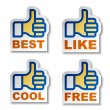 Thumb up hand stickers — Stock Vector