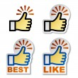Thumb up hand stickers — Stock Vector #11497415