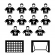 Football team black symbols — Stock Vector