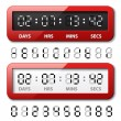 Red mechanical counter - countdown timer — Stock Vector