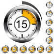 Stock Vector: Chrome round timers
